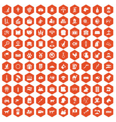 100 pets icons hexagon orange vector