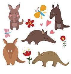 Set funny aardvarks vector image