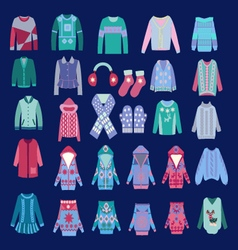 Fashion of cozy winter clothes and accessories vector