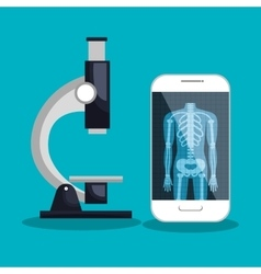 Smartphone and microscope medical service vector