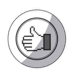 Sticker grayscale contour of pixel thumb up inside vector
