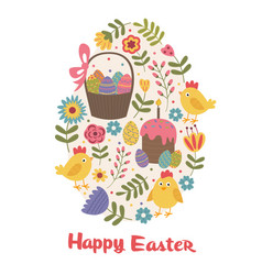 Happy easter greeting card with chick vector