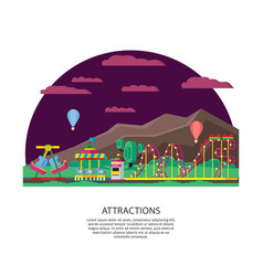 Amusement park or funfair concept vector