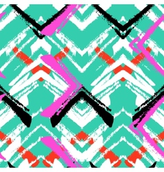 Hand drawn pattern with brushed zigzag line vector