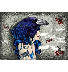 Woman in raven costume vector