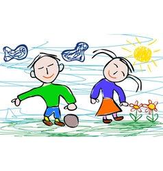 Kids drawing style of boy and girl vector