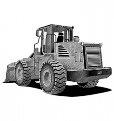 Bulldozer engraving vector