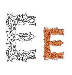 Uppercase letter e in a floral and foliate design vector
