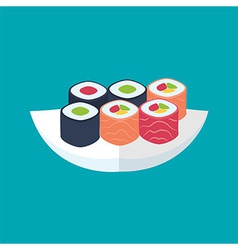 Sushi rolls with tuna and salmon plate vector