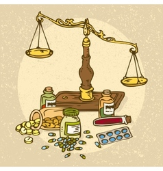 Pharmaceutical scales and pills vector