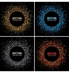 Set of colorful bright new year 2016 backgrounds vector