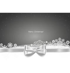 Christmas background with gift bow and shiny vector