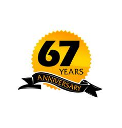 67 years ribbon anniversary vector image