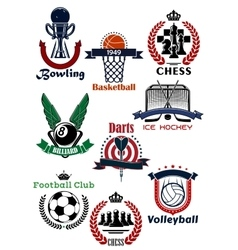 Sport games symbols and icons set vector image