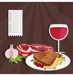 Steak house with meat and wine vector