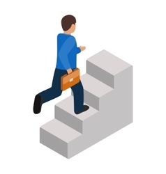 Businessman runs up the career ladder icon vector
