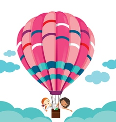 Two girls in balloon floating on the sky vector