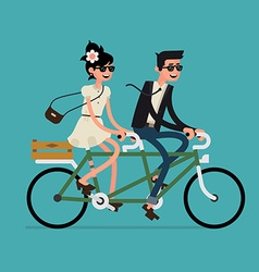 Man and woman on a tandem bike vector