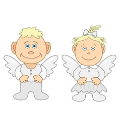 boy and girl angels vector image vector image