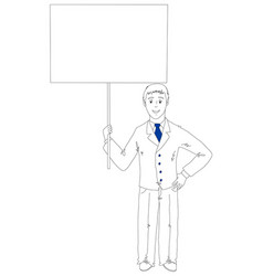 businessman holding a poster vector image vector image