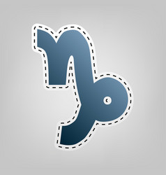 Capricorn sign blue icon vector