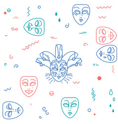 Carnival theater masks pattern vector