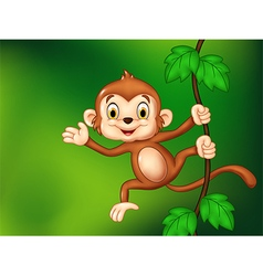Cartoon funny monkey hanging and waving hand vector image vector image