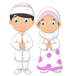 cute two muslims cartoon vector image vector image