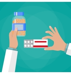 Doctor hand holding box of pills and capsules vector image