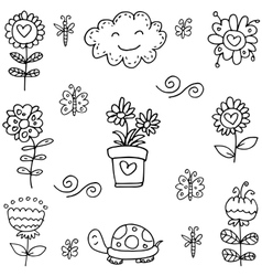 Doodle of spring flower turtle cloud vector