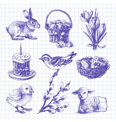 Easter set hand drawn ink vintage vector