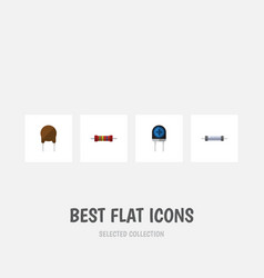 Flat icon device set of triode resistor vector