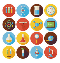Flat science and education circle icons set with vector
