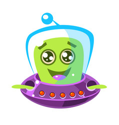 Friendly smiling alien in a flying saucer cute vector