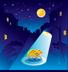 Frightened kitten at the night of the city vector