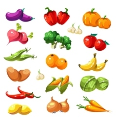 Fruits and Vegetables Organic Food Icons vector image vector image