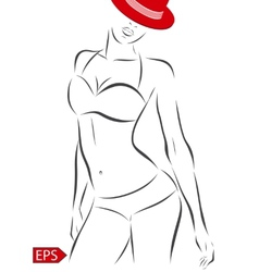 girl in bikini on a white background vector image vector image