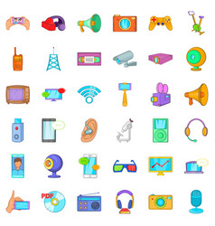 Good gadget icons set cartoon style vector