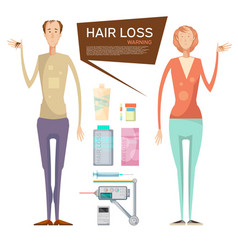 Hair loss drugs concept vector