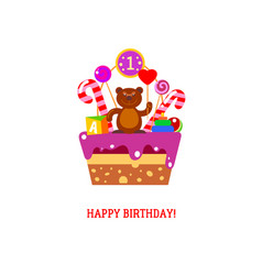 happy first birthday cake with bear vector image vector image