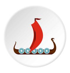 Medieval boat icon circle vector
