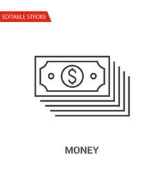 money icon thin line vector image vector image