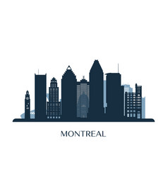 montreal skyline monochrome silhouette vector image