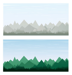 Mountain on gray and green color banner vector