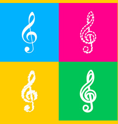 Music violin clef sign g-clef treble clef four vector