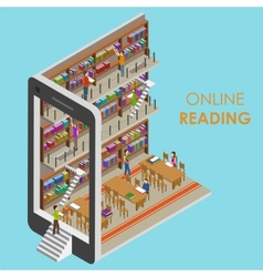 Online Reading Conceptual Isometric vector image