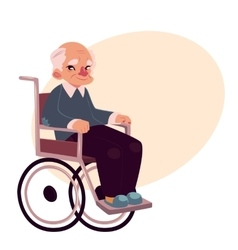 Portrait of happy old man sitting in wheelchair vector image vector image