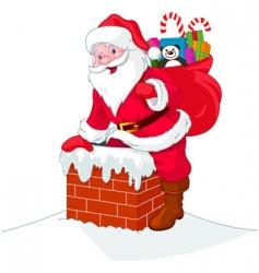 Santa claus descends the chimney vector