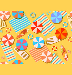 seamless beach top view chaise lounge vector image vector image