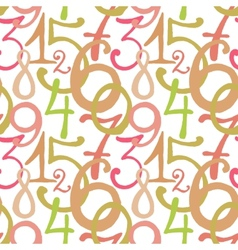 Seamless pattern with hand drawn painted numbers vector